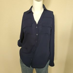 New York & Company Chiffon Button DOWN BLOUSE